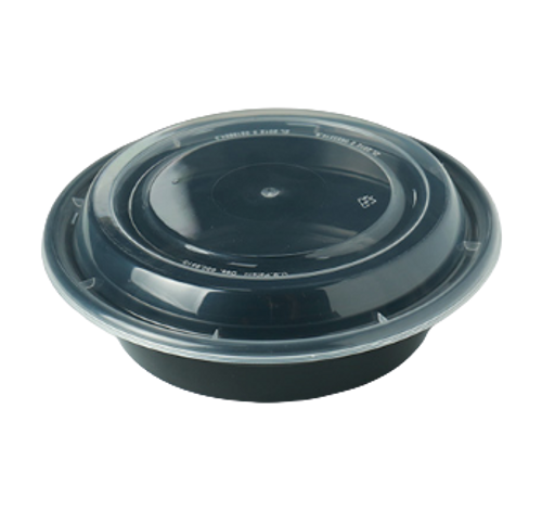 16 oz Round Black Base Container w/ Clear Lid (150/Case) Kevidko