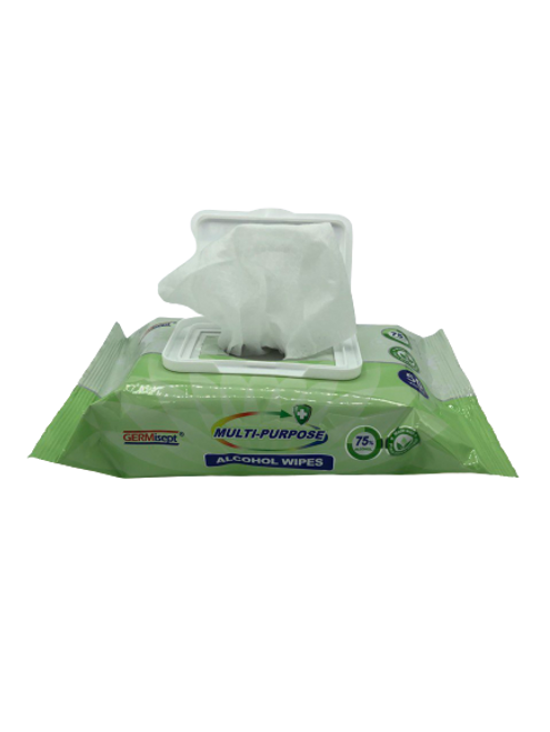 Case of 75% Alcohol Wipes w/ Aloe Vera, Reclosable Pouch 50 Sheets (24/Case)