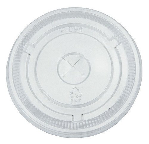 107mm Flat Straw-Slot Lids for 32 oz Clear Plastic Cups (500/Case)