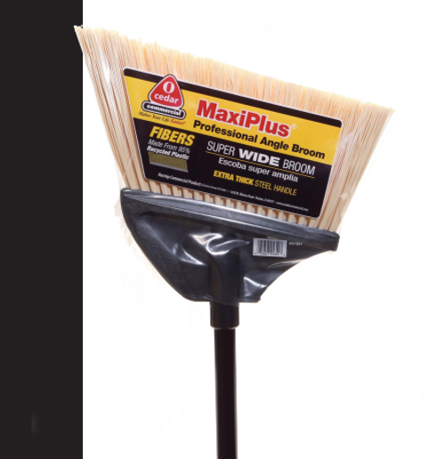 MaxiPlus Professional Angle Broom, Natural Flagged Bristles (4/Case)