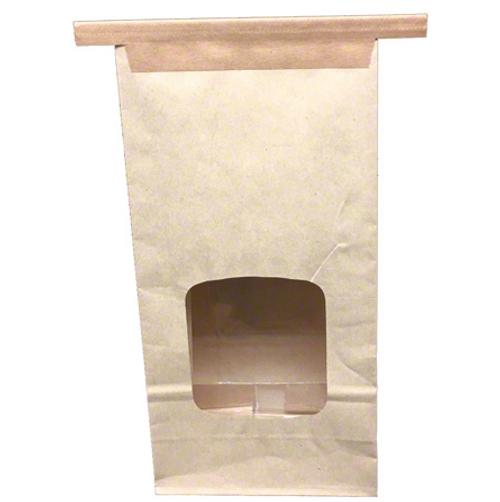 "1 lb Window Tin-Tie Paper Bag, Natural, 4.75x2.5x9.5"" (1000/Case)"