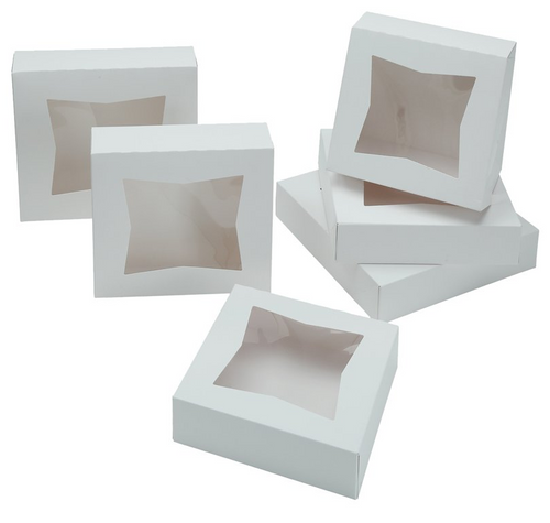 "10x10x2.5"" Window Pie Box, Bright White (200/Case)"