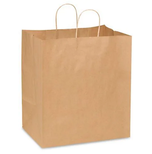 "14x10x15"" Eden Rope Handle Paper Shopping Bags, Natural Kraft (250/Case)"
