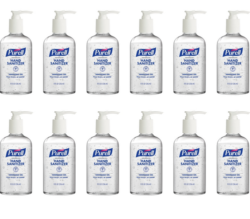 Purell Advanced Hand Sanitizer, Sanitizing Gel, 8 oz Fat Bottle w/ Pump (12/Case)