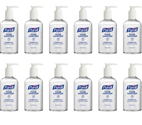 Purell Advanced Hand Sanitizer, Sanitizing Gel, 8 oz Fat Bottle w/ Pump (12/Case)