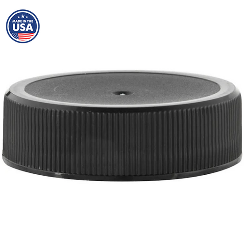 38-400 Black Ribbed Caps, Polypropylene, F217 Liner (1000/Pack)