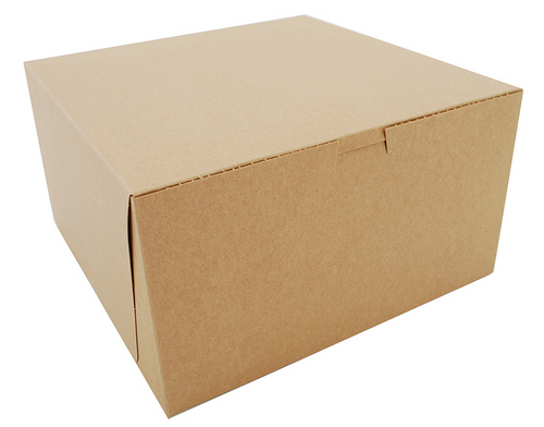 "10x10x5"" Cake/Bakery Box, Natural Kraft (100/Case)"