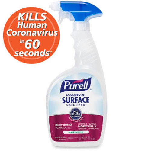 Purell Foodservice Surface Sanitizer, No-Rinse 32 oz Spray (6/Case)