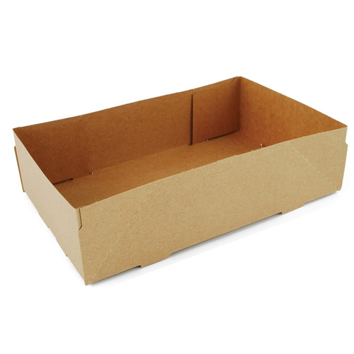 """858 Paperboard Automatic Food Tray, Kraft, 9x5.5x2.2"""" (500/Case)"""