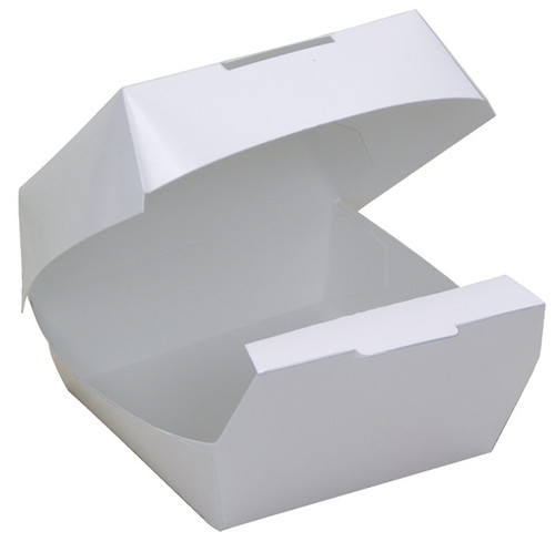 """DBRGRCLAM White Paperboard Burger Clamshell, 5x5x3"""""""