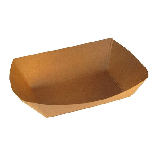 #300 3 lb Natural Kraft Paper Food Trays (500/Case)