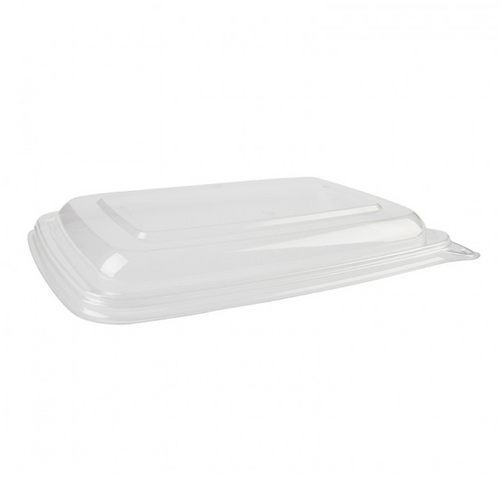 "Sabert Clear PCR Lid for 6x9"" Rectangle Pulp Containers (300/Case)"