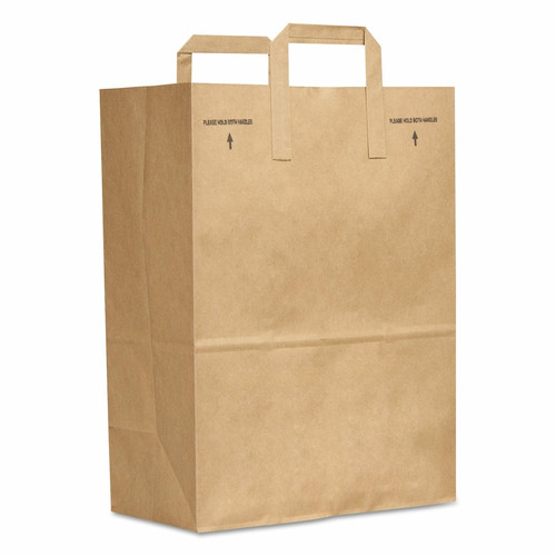 "12x7x17"" Flat Handle 1/6 BBL Grocery Sack, 70# Kraft (300/Bundle)"