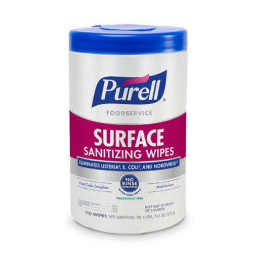 Purell Foodservice Surface Sanitizing Wipes, No Rinse, Fragrance-Free, (110/Jug)