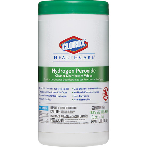 Clorox Healthcare Hydrogen Peroxide Disinfectant Wipes, 155 Sheets (155/Jug)