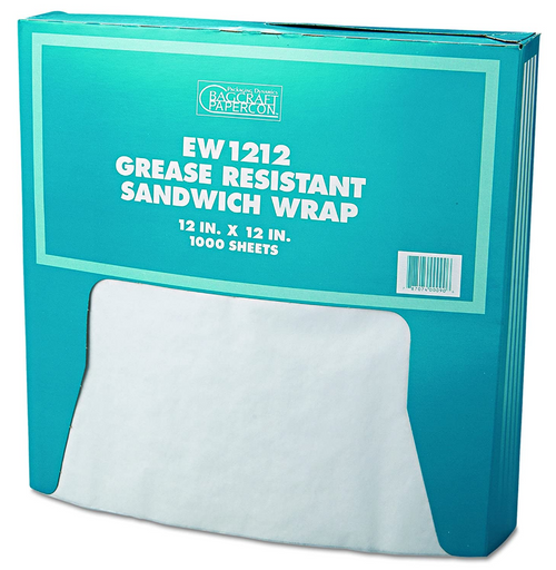 "12x12"" White Grease Resistant Sandwich Wrap, 5 Packs of 1000, (5000/Case)"
