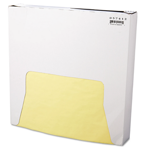 "12x12"" Yellow Grease Resistant Sandwich Wrap, 5 Packs of 1000, (5000/Case)"