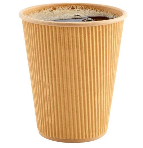 12 oz Kraft Ripple Paper Hot Cups (500/Case)