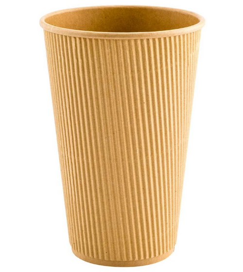 16 oz Kraft Ripple Paper Hot Cups (500/Case)