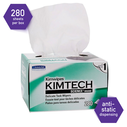 """Kimtech Science Delicate Task Extra Low Lint Wipers, 4.5x8.5"""" (280/Box)"""