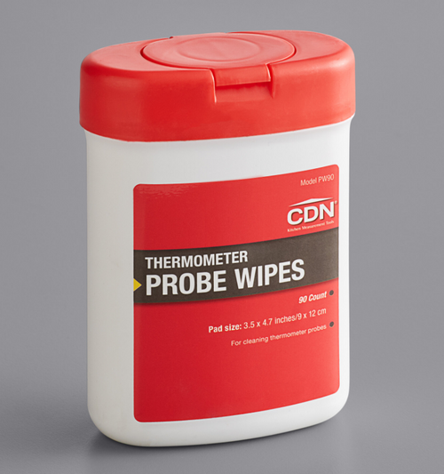 "CDN Thermometer Probe Wipes, 75% Isopropyl Alcohol, 3.5x4.7"" (90/Jug)"