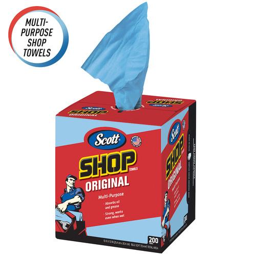 Scott Pop-Up Box Shop Towels, Blue (200/Box)