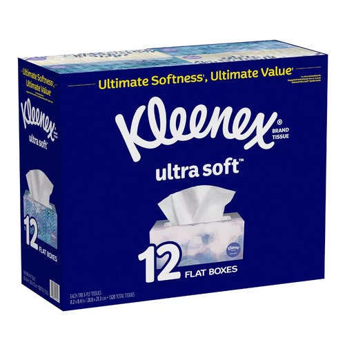 Kleenex Ultra Soft 3 Ply Facial Tissue, Rectangle Box, 110 Sheets (12/Pack)