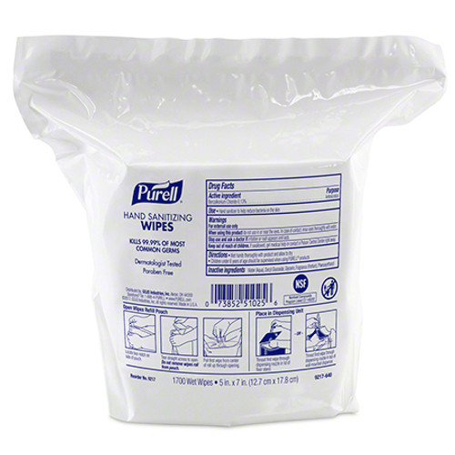 Purell 9517 Hand Sanitizing Wipes, High Capacity Refill Pouch (1700/Bag)