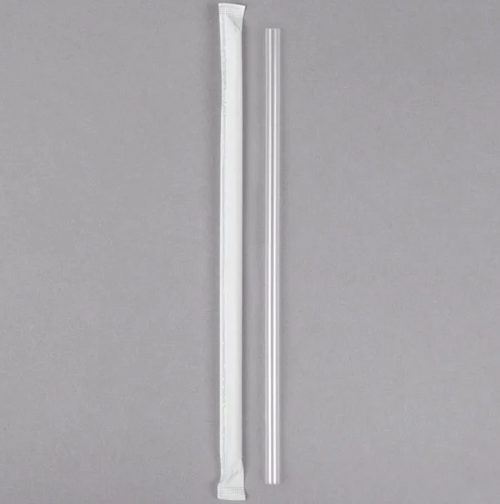 "7.75"" Wrapped Jumbo Plastic Straw, Clear (500/Box)"