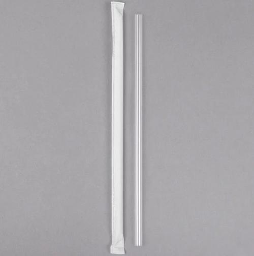 "7.75"" Wrapped Jumbo Plastic Straw, Clear (500/Box)"