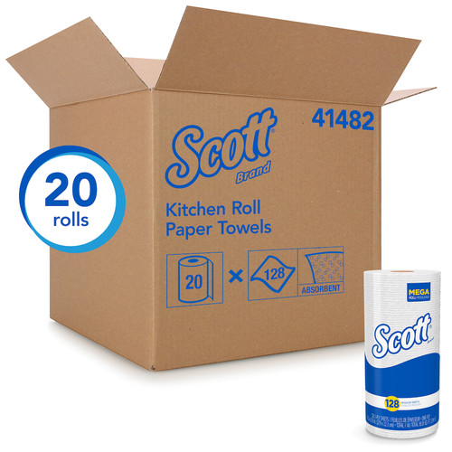 Scott 41482 Kitchen Roll Paper Towels, 128 Sheets (20/Case)