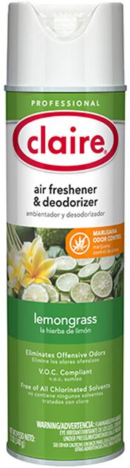 Claire CL1307 Lemongrass Air Freshener & Smoke Odor Eliminator 12 oz (1/Each)