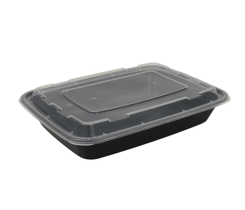 58 oz Rectangle Black Base Container w/ Clear Lid (150/Case)