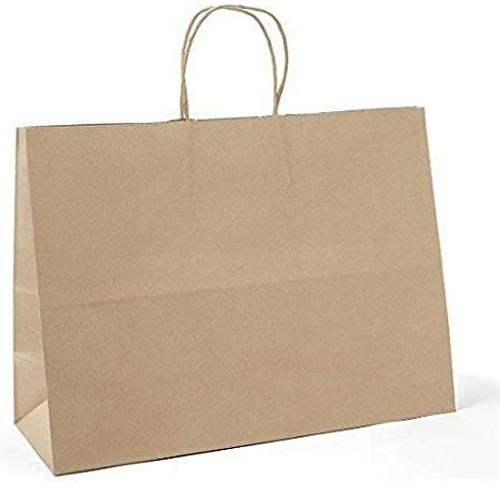 "16x6x12"" Tote Rope Handle Paper Shopping Bags, Natural Kraft (250/Case)"