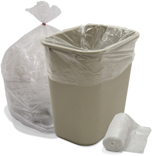 """12-16 Gallon Trash Can Liners, 24x33"""" 8 Micron, Natural (1000/Case)"""