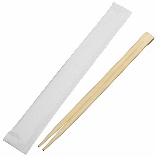 Bamboo Chopsticks, Plain White Wrapper (2000/Case)