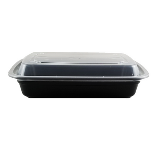28 oz Rectangle Black Base Container w/ Clear Lid (150/Case)