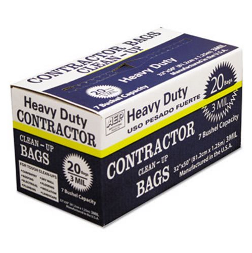 """32x50"""" Contractor Clean Up Bag, Heavy Duty 3 Mil, Black (20/Case)"""
