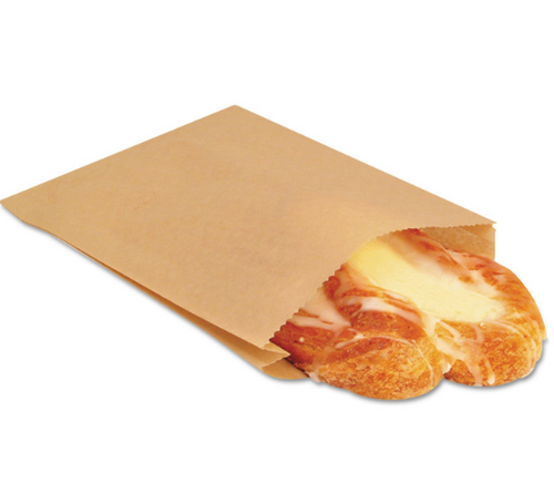 """6.5x1x8"""" Grease Resistant Sandwich/Pastry Bag, Natural (2000/Case)"""
