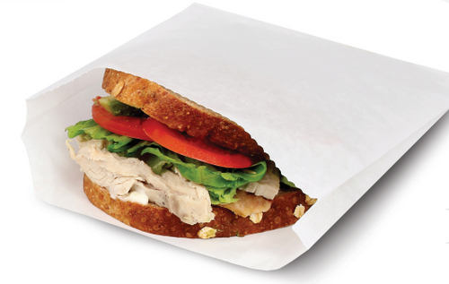 """6.5x1x8"""" Grease Resistant Sandwich/Pastry Bag, White (2000/Case)"""