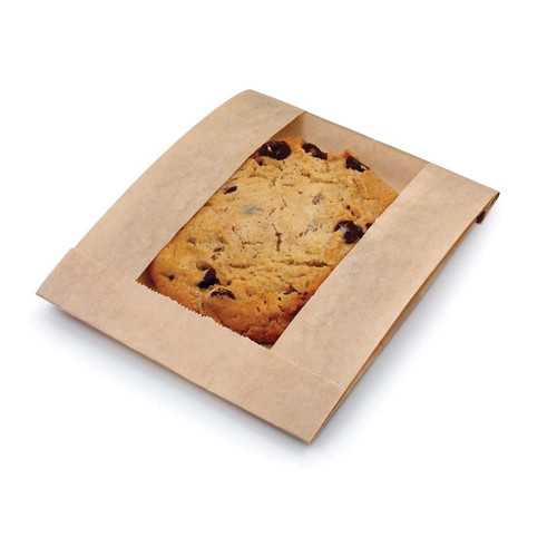 """Ecocraft 5x1.5x7"""" Grease Resistant Window Cookie Bag, Natural (500/Case)"""