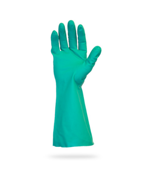"Green Nitrile Chemical Resistant Gloves, 13"", 15 Mil, Large (12 Pairs/Pack)"