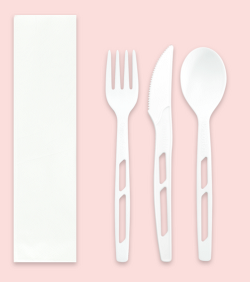 Wrapped Compostable CPLA Heavy Duty Cutlery Kits, White (200/Case)