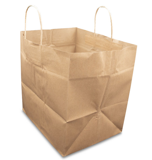 """12x10x12"""" Rope Handle Paper Shopping Bags, Natural Kraft (250/Case)"""