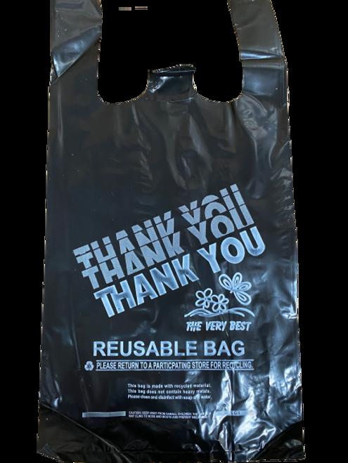"Reusable Plastic T-Shirt Bags, 10x5x19"", 2.25 Mil/57 Mic, Black (300/Case)"