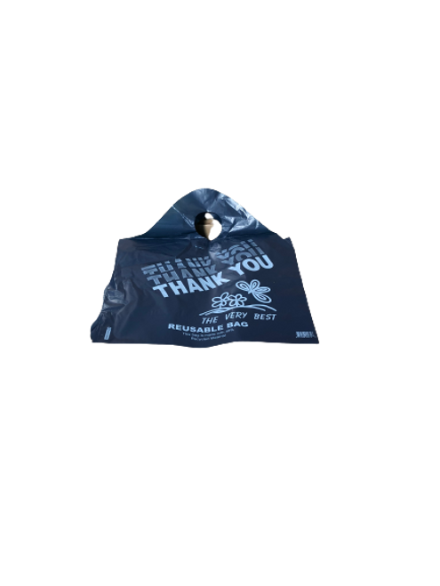 """Reusable Plastic Wave Top Bags, 18x6x20"""", 2.25 Mil/57 Mic, Dark Navy Blue, """"Thank You"""" (500/Case)"""