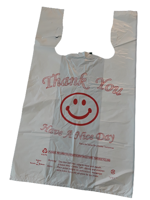 """Happy Face T Shirt Bag, 12x7x21"""", 16 Micron, White """"Thank You Have A Nice Day"""" (500/Case)"""