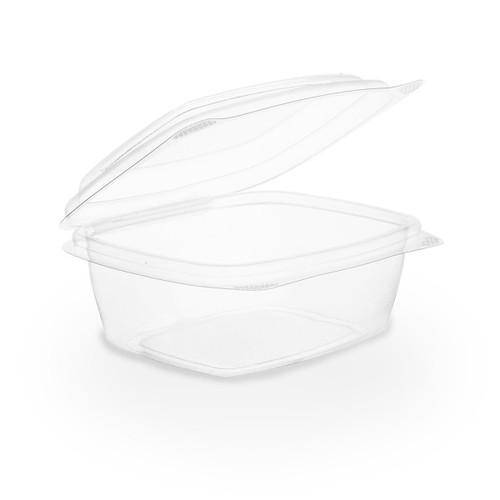 VHD-08 8 oz Clear Compostable Hinged Lid Deli Containers (300/Case)