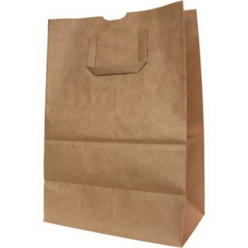 "12x7x17"" Flat Handle 1/6 BBL Grocery Sack, 70# Kraft (300/Bundle)"