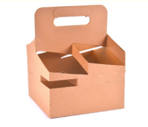 """XL 8x8"""" 4 Cell Food & Drink Carrier Tray w/ Handle, Natural Kraft (250/Case)"""